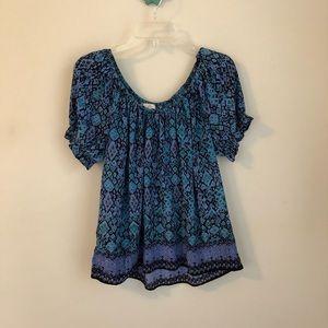 Joie • printed border hem peasant top blouse